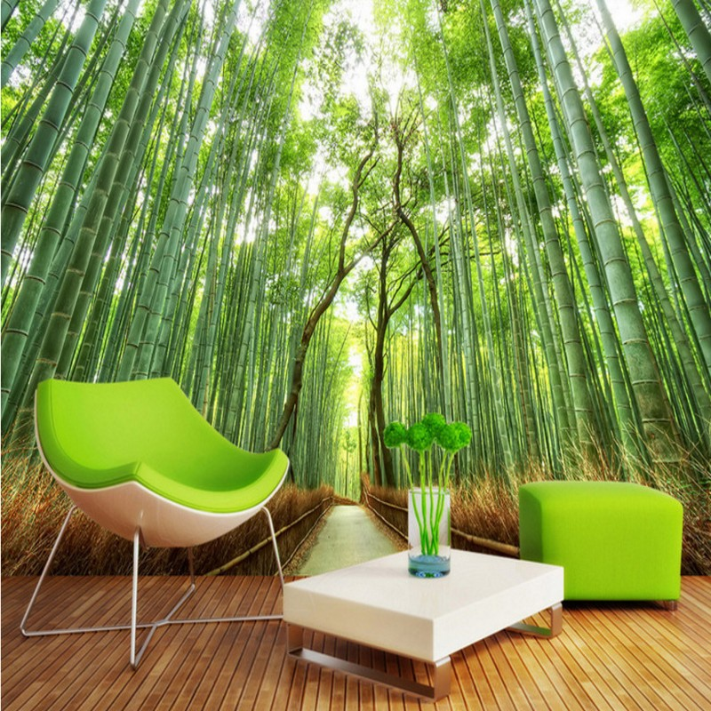 Drop Shipping Bamboo Forest Wallpaper Landscape Background Wall Painting Photo Mural Living Room Hallway Porch Wallpapers