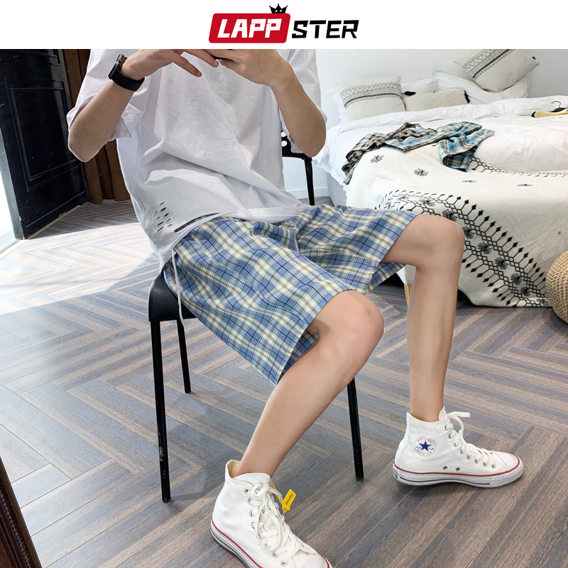 LAPPSTER Men Harajuku Plaid Shorts Summer 2020 Casual Sweat Shorts Korean High Waist Vintage Joggers Loose Streetwear Clothing