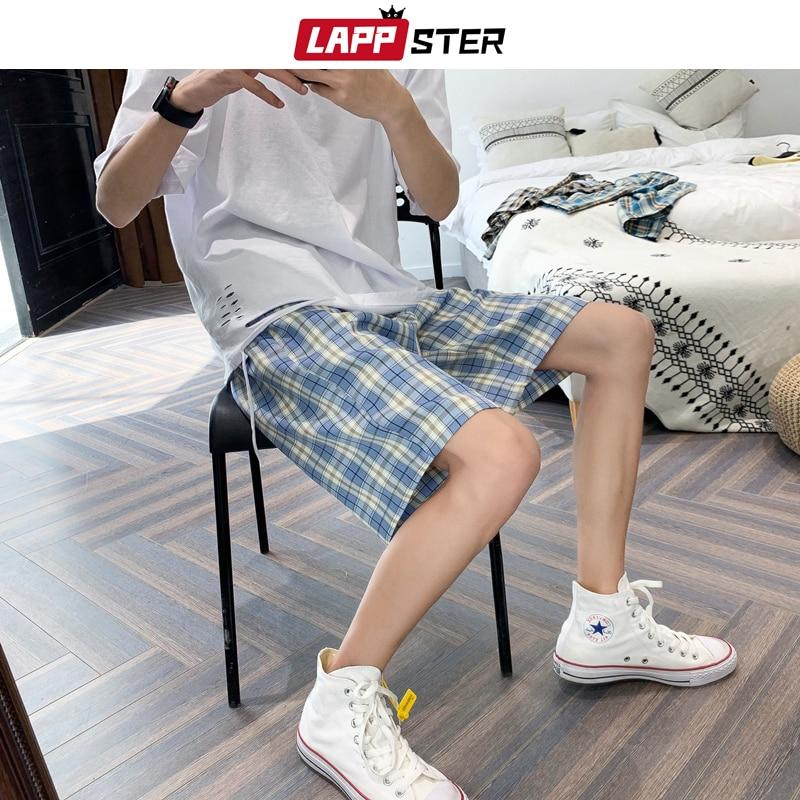 LAPPSTER Men Harajuku Plaid Shorts Summer 2020 Casual Sweat Shorts Korean High Waist Vintage Joggers Loose Streetwear Clothing