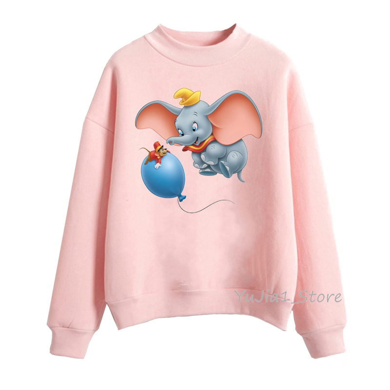 Funny Dumbo Animal Print Hoodies Women Clothes Spring Autumn Winter  Dumbo Sweatshirt Women Tracksuit Sudaderas Para Mujer 2019