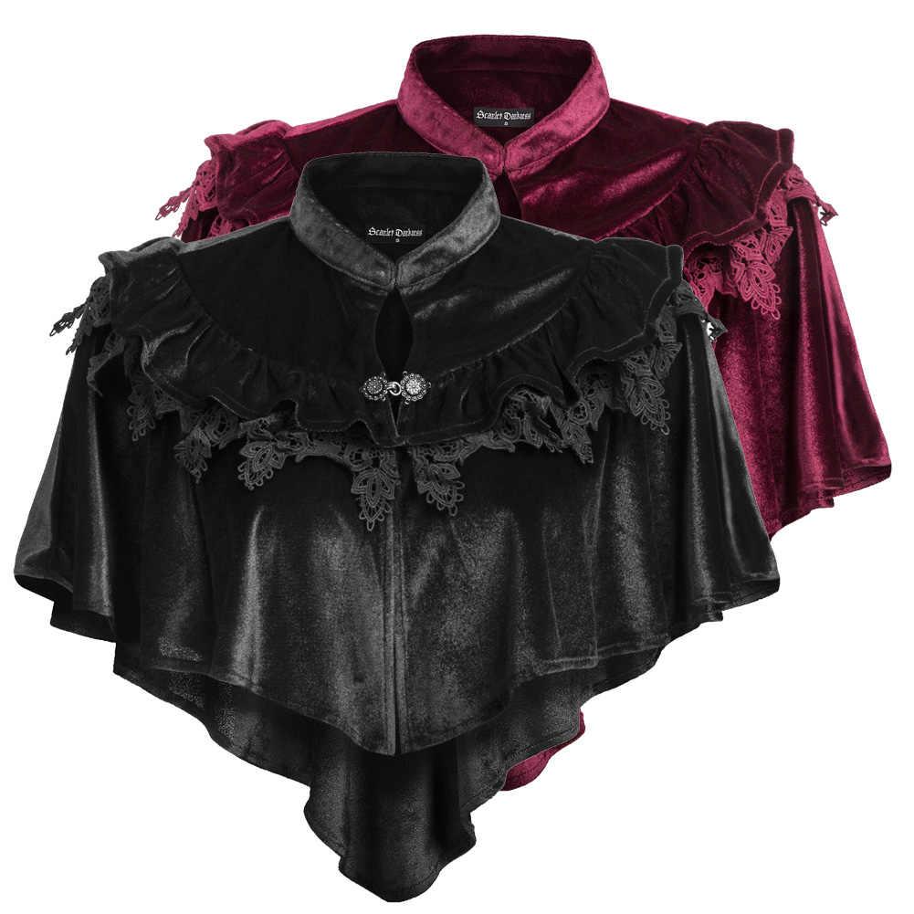 SD delle Donne Retro Steampunk Gothic Mantello Rinascimentale Lolita Collare Del Basamento di Alta-Bassa di Velluto Del Capo Della Signora di Colore Solido Classico sciarpa