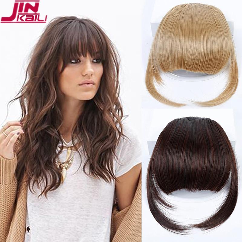 Женские волосы для наращивания JINKAILI, черные, коричневые короткие спереди опрятные накладные челки с бахромой, наращивание волос из высокот...