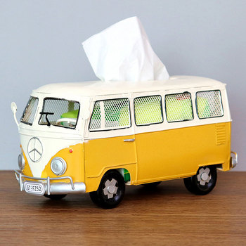 Flower Retro Iron Bus Tissue Box Model Figurines Car Craft Home Decoration Accessories for Living Room Ornaments for Home Decor 23