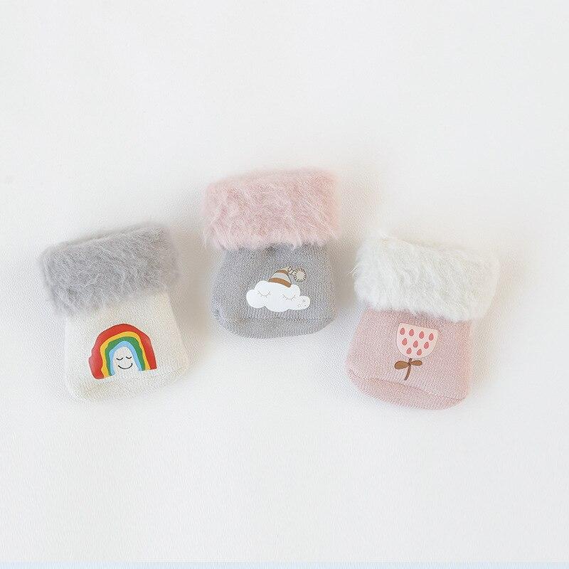 3Pcs set Brand New Cute Cartoon Winter Thick Baby Terry Socks Warm Newborn Infant Cotton Boys Girls Cute Toddler Socks in Socks from Mother Kids