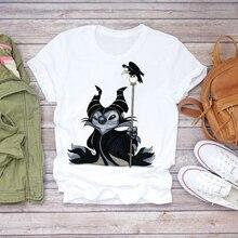 Women 2020 Cartoon Stitch Bird Maleficent Fashion Clothing Lady T-shirt