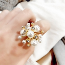 MENGJIQIAO Korean Elegant Fireworks Pearl Crystal Open Adjustable Rings For Women Students Fashion Finger Ring Jewelry