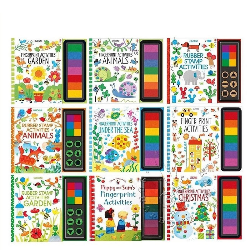26*22*1.4cm Baby Fingerprint English Drawing Book With Rubber Stamp Ink Pad Kids Doodling Paint Learning Book Animals Garden