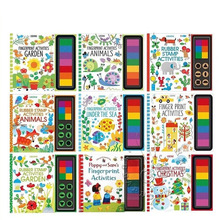 Fingerprint Rubber-Stamp Drawing-Book Paint Doodling Baby Kids with Ink-Pad Animals Garden