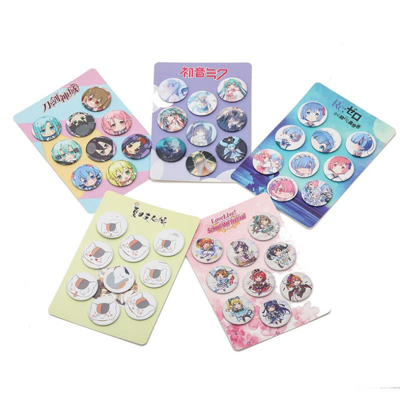 8pcs/set New Anime Hatsune Miku Cardcaptor Sakura Lovelive Cosplay Badge Pins Collection Badges For Backpack Clothes Figure Toy