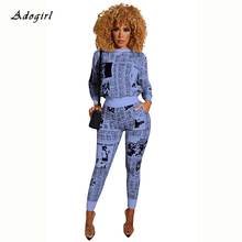 Vintage Newspaper Print 2 Piece Set Women Casual Hoodie Top With Pencil Pants Sets Sexy Bodycon Night Club Tracksuit