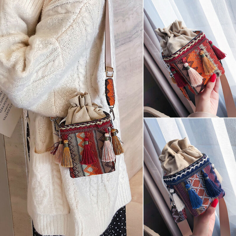 Women Shoulder Bags Ethnic Handbag Tassel Cross-body Satchel Messenger Purse Fashion Casual Beach Vacation Lady Travel Shoulder