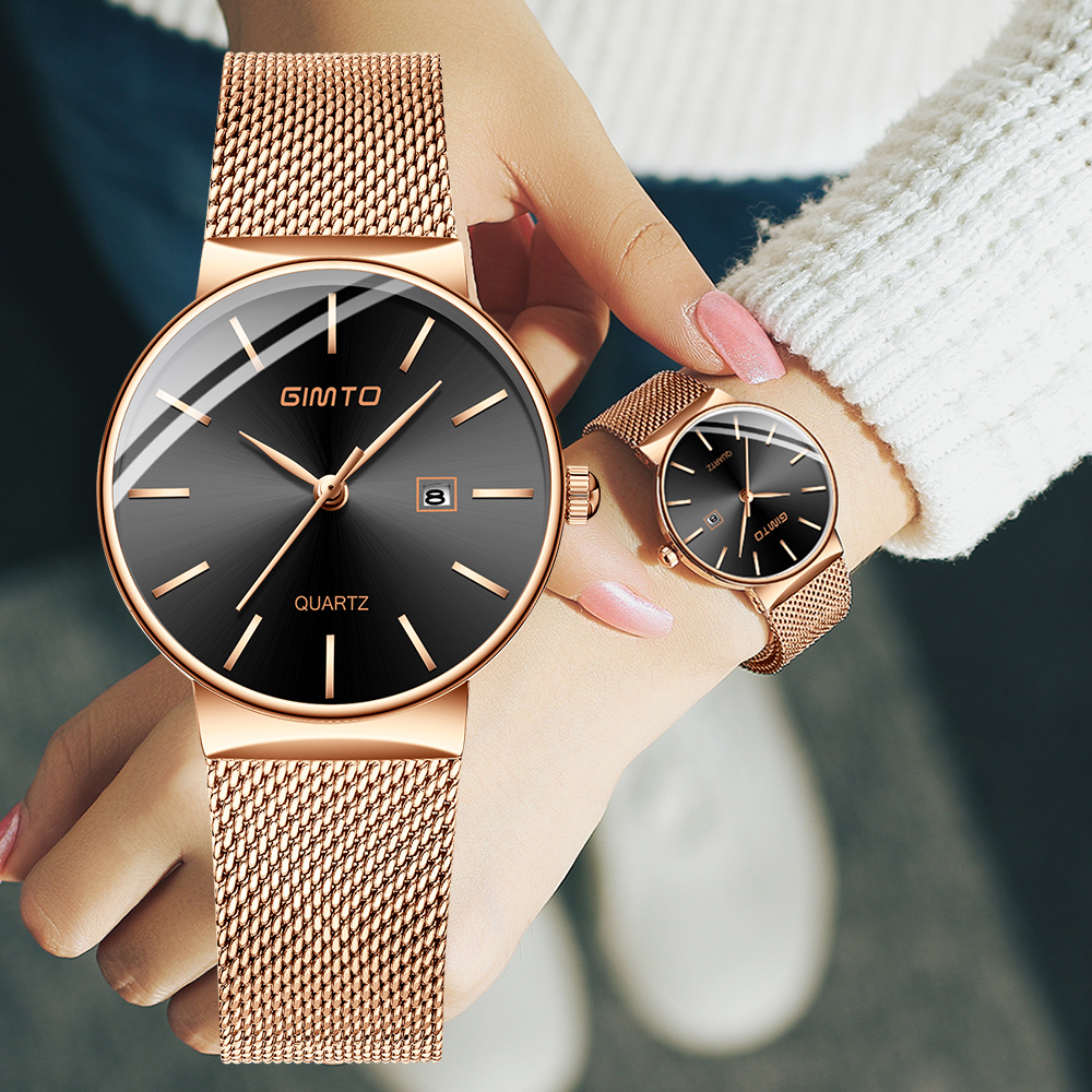 GIMTO 2018 Brand Women Watches 32mm Rose Gold Fashion Quartz Bracelet Lovers Ladies Watch Luxury Female Clock Relogio Feminino