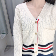 Autumn 2019 New White Knitted Cardigan V-neck Sweater with Wind Stripes Women College England V-Neck Cardigans Sweaters