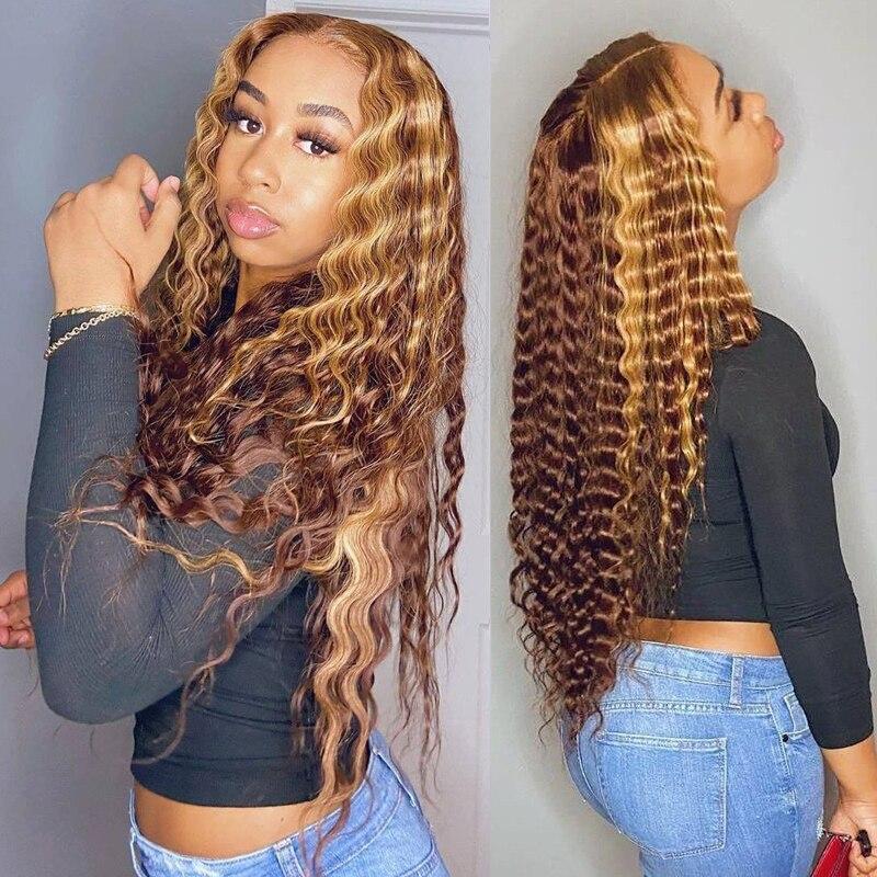 Kıvırcık insan saçı peruk bal sarışın Ombre 13x6 brezilyalı kahverengi renk derin su dalgası Hd tam Frontal vurgulamak Bob dantel ön peruk