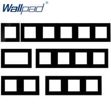 Wallpad-Marco de Panel de cristal templado de lujo, Panel negro para Hotel, marco Vertical y horizontal, 1, 2, 3, 4, 5 marcos