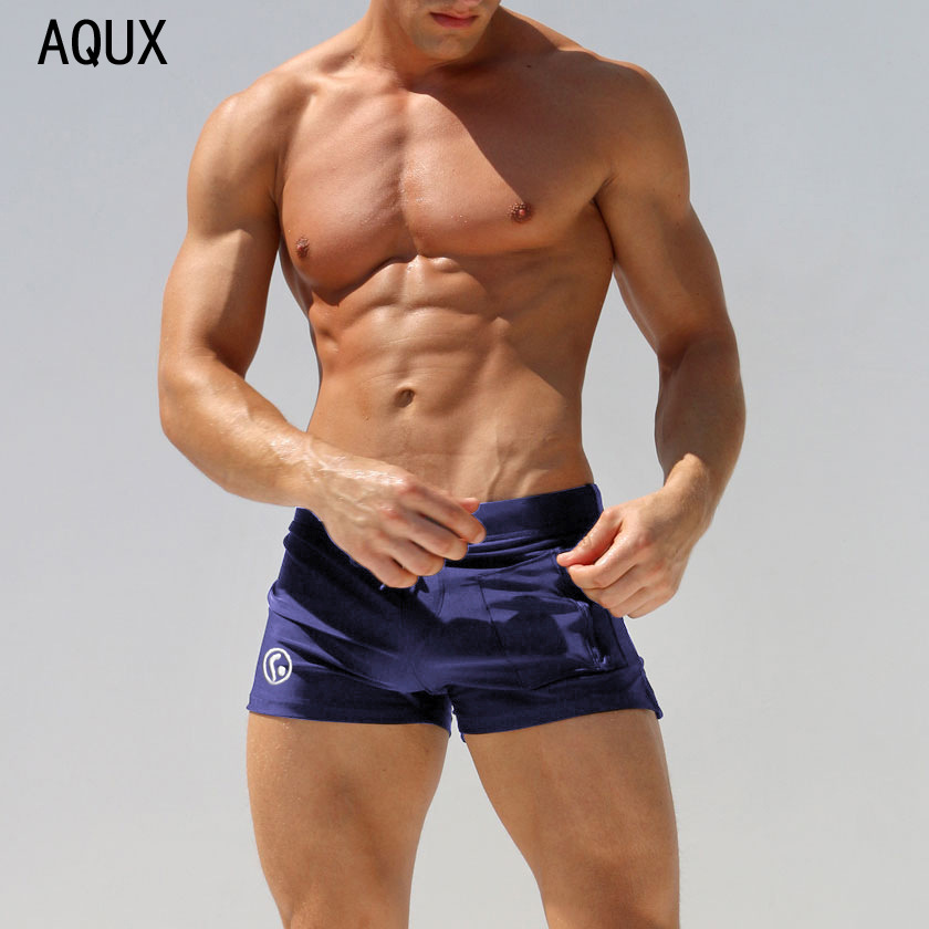 Hot Selling Summer Day Low-Rise Nylon Elasticity Zipper Side Pocket AussieBum Beach Swimming Trunks