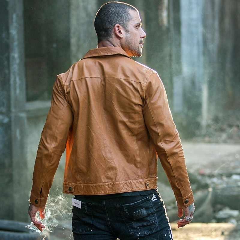 ヴィンテージブランド本物の革のジャケット羊のオートバイのバイカージャケット長袖スリムカジュアルなアウターウェアプラスサイズ 4XL