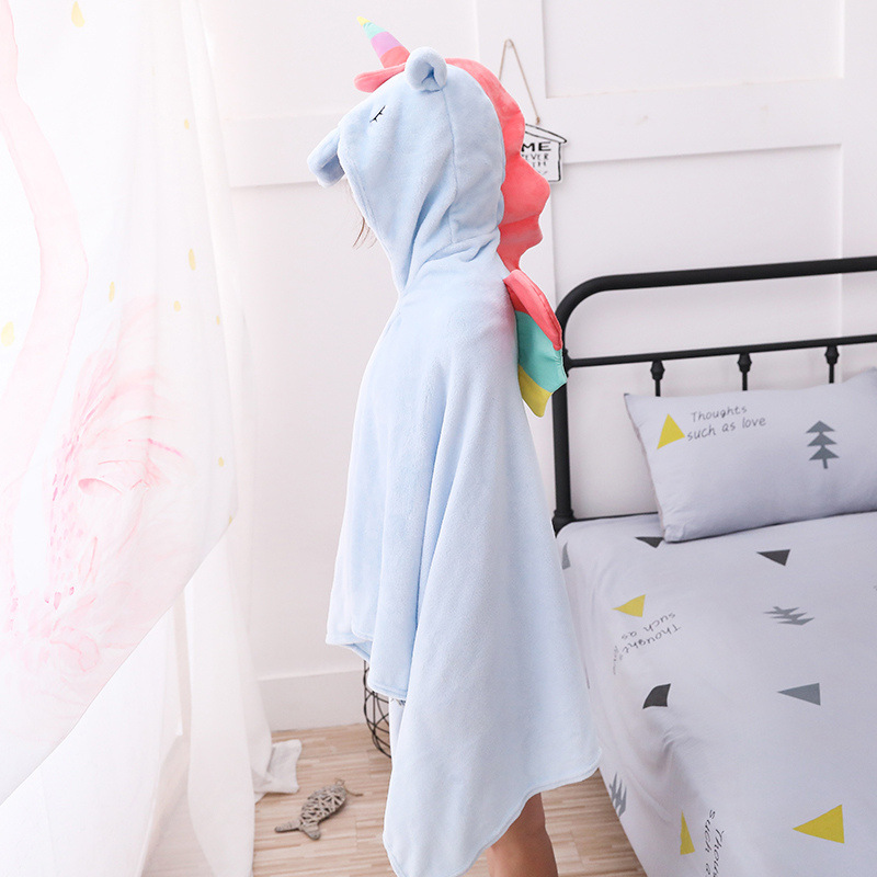 Unicorn Fleece Blanket Hooded Blanket Bed Sofa TV Throw Blankets Cartoon Hoodie Blanket Sweatshirt Christmas Gift for Children 10