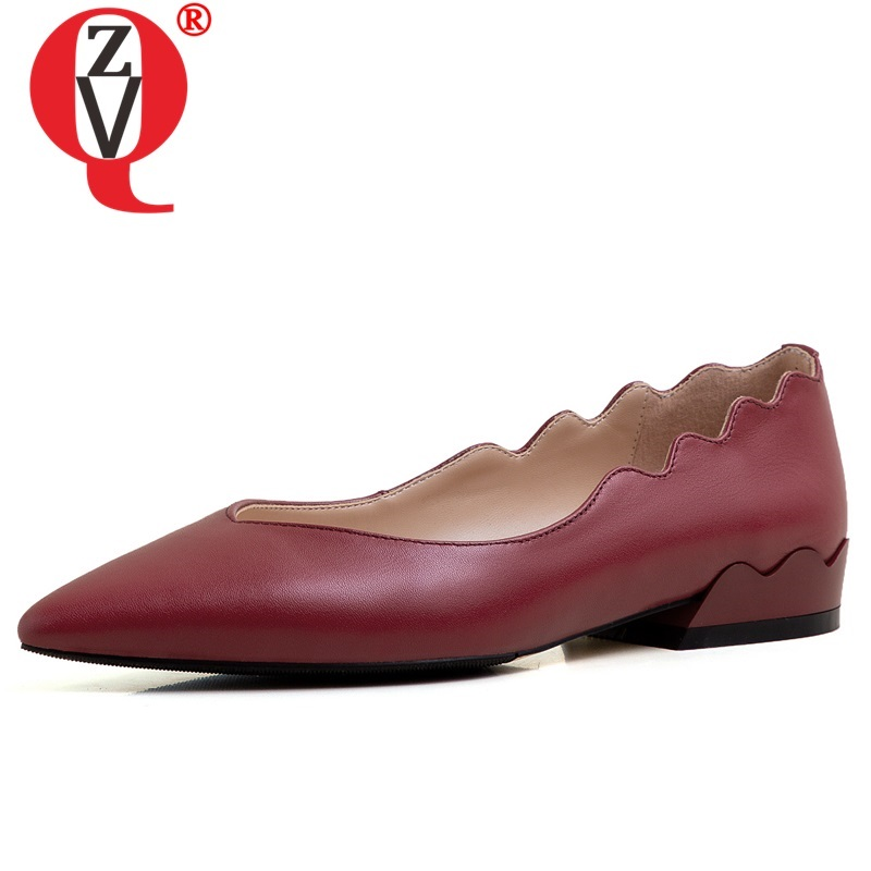 ZVQ 2020 spring newest casual women flats outside comfortable handmade genuine leather pointed toe women shoes drop shipping