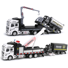 19CM Pull Back Crane Trailer Tow Truck Model Toy Alloy Diecast City Rescue Police Vehicle Oil Tank Car Toy for Boy Children Y191