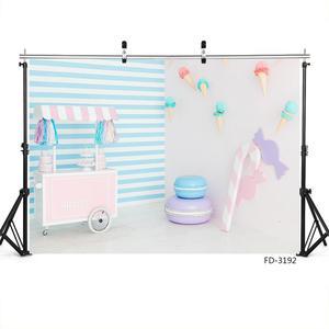 Image 3 - מתוק שולחן קרח קרם קונוס פסים תמונה רקע ויניל בד רקע אבזרי צילום לילדים תינוק מקלחת פוטושוט
