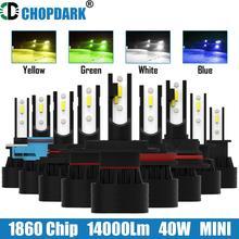 車のledヘッドライト電球 1860 csp 14000Lm 40 ワット黄色の白、緑、青H1 H3 H4 H7 H11 H8 9005 HB3 9006 HB4 880 881 H27 9007 9004