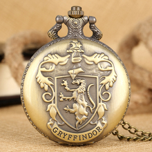 цена на Retro Gryffindor's Carved Quartz Core Men Women Pocket Watches With Bronze Triangle Pendant Necklace Chain Clock Birthday Gifts