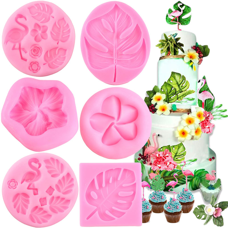 Tropical Theme Fondant Mold Flamingo <font><b>Flower</b></font> Turtle Leaf Candy Chocolate Silicone Molds DIY Summer Party <font><b>Cake</b></font> <font><b>Decorating</b></font> <font><b>Tools</b></font> image