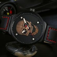 WWOOR Mens Watches Rose Gold Creative Skull Dial Clock Men Casual Waterproof Quartz Wrist Watch Man Fashion Leather Montre Homme