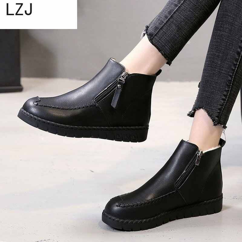 LZJ Women Shoes Winter Autumn Casual Women High Heels Pumps Warm Ankle Boots Women Botas Snow Boots Mujer Zapatos Size 35-40