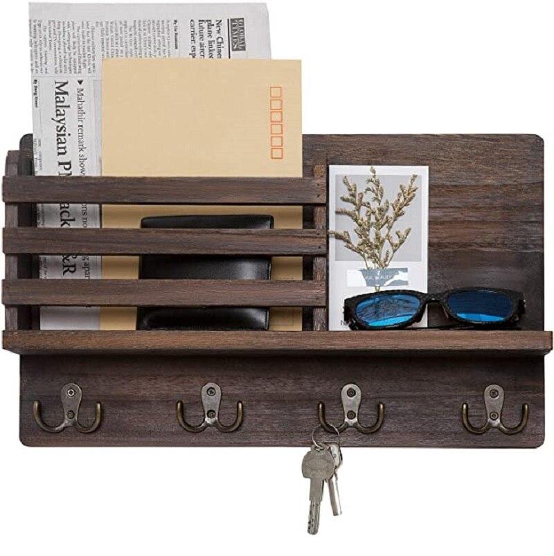Wall Mounted Mail Holder Coat Rack Hanger Key Hanger Wooden Mail Sorter Organizer with 4 Double Key Hooks Wall Shelf Wood 1