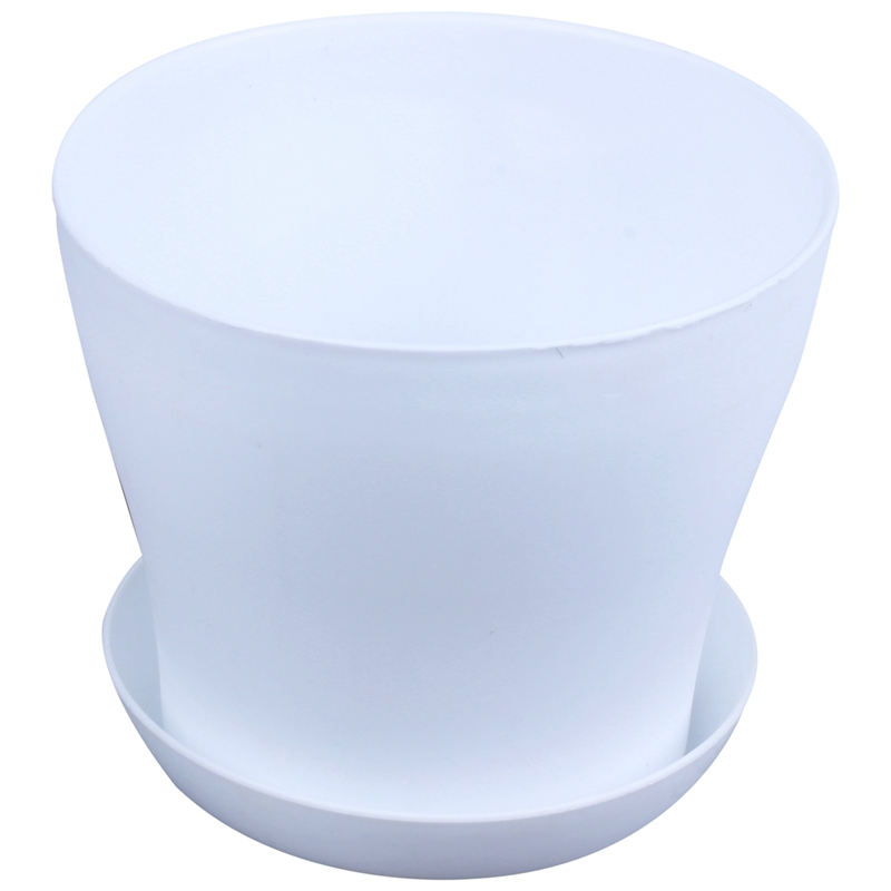 Plastic Plant Flower Pot Planter With Saucer Tray Round Gloss Home Garden Decor, White Upper Caliber Small Pots For Succulent