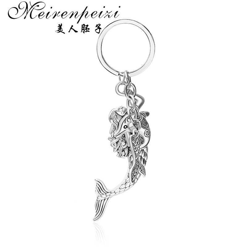 جديد الموضة الرجال امرأة المفاتيح لتقوم بها بنفسك حامل معدني سلسلة vintage الأسماك الكارب الفضة قلادة هدية