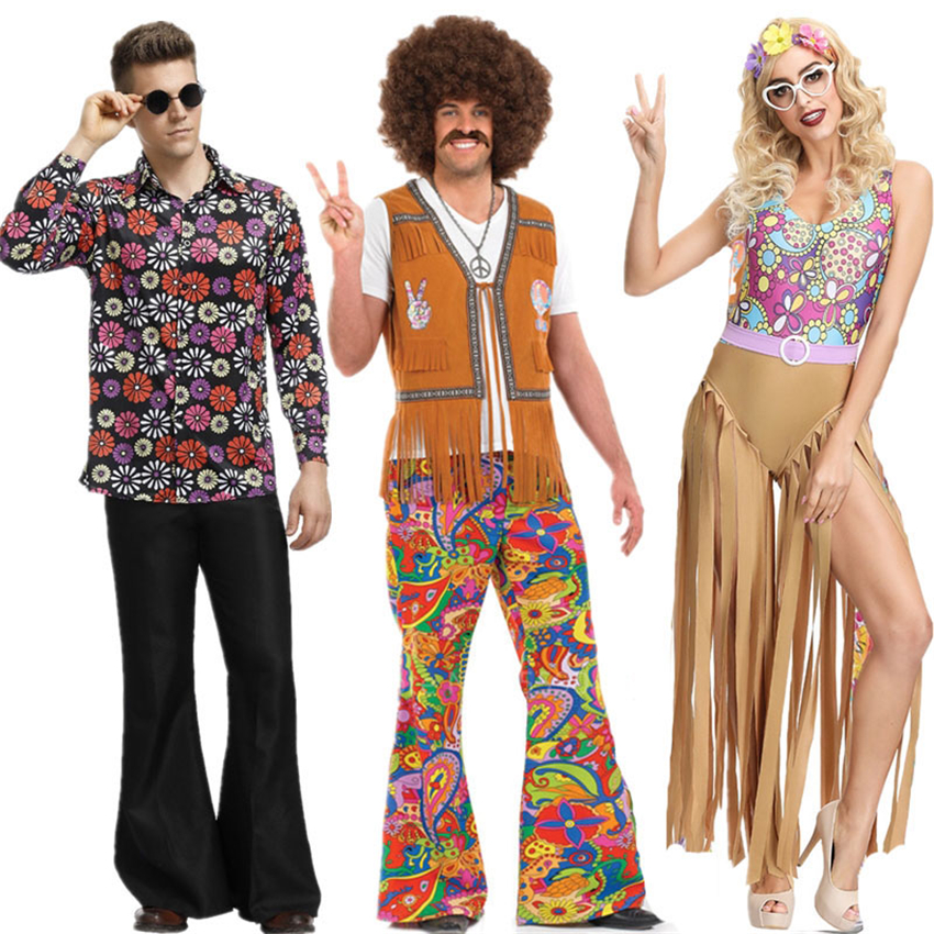 Retro 60s 70s Hippie Cosplay Halloween Costume For Men Women Fancy Dress Disguise Carnival Party Fringed Native Groovy Disco