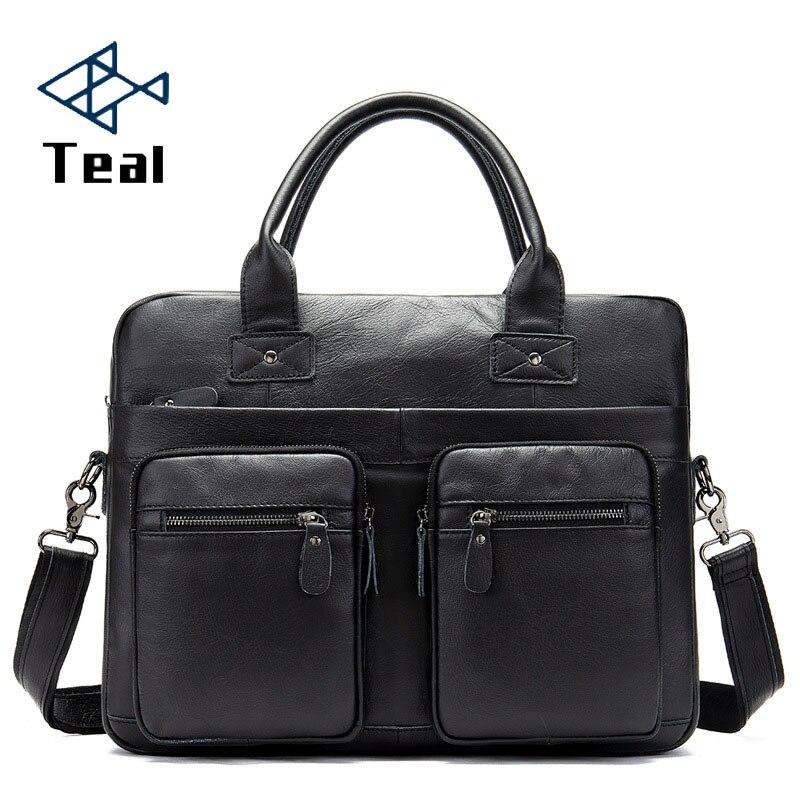 2020 Vintage Men's Briefcase Genuine Leather Briefcase Crazy Horse Leather Messenger Bag Male Laptop Bag Men Business Travel Bag