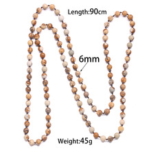 2019 New Fashion Stone Beaded Necklace Choker Bohemian Rose Quartzs Jewelry Natural Knotted Long Necklaces for Women