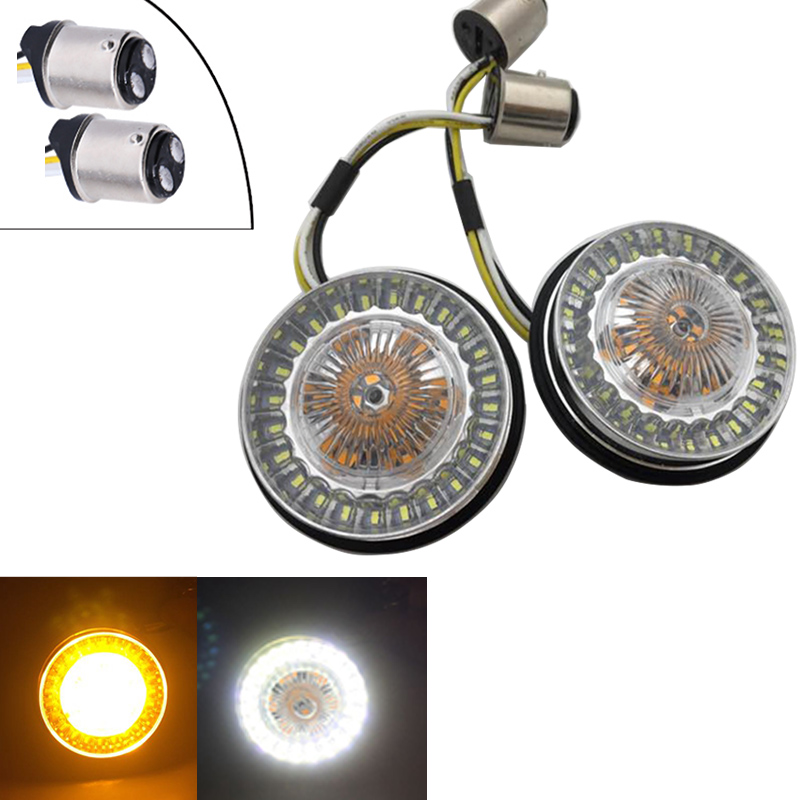 2pcs 2 Inch Motorcycle Front LED Turn Signals With White Running Lights For Motorcycles 1157 1156 Bullet Style Turn Signals