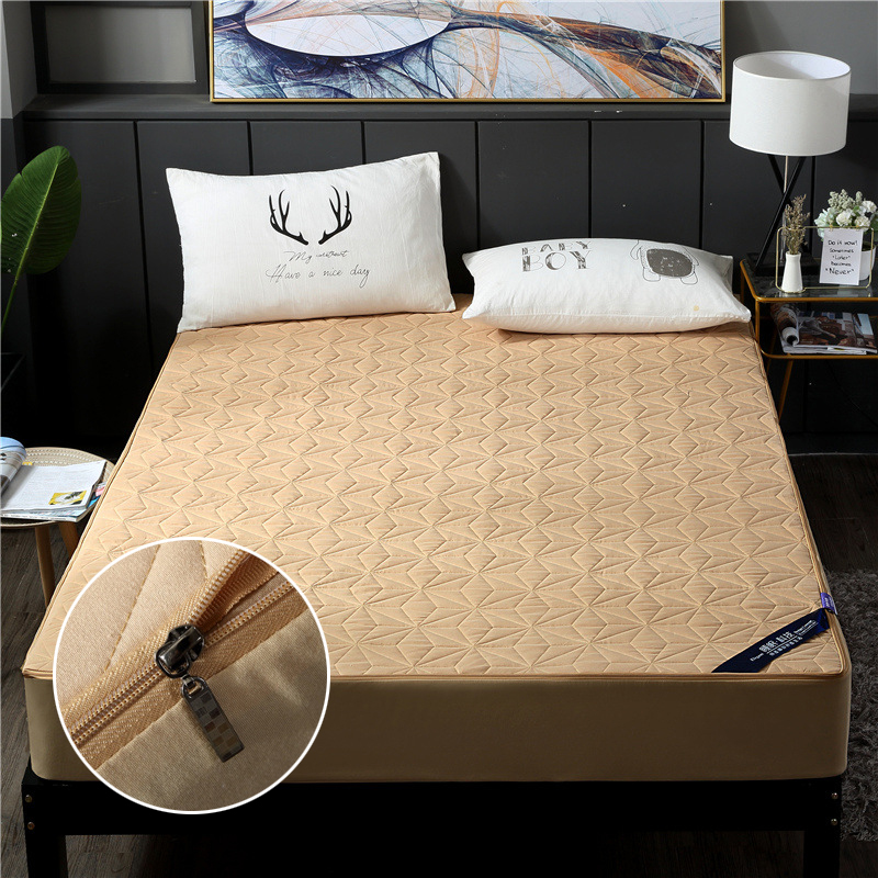 Waterproof Mattress Pad Cover Anti Mite All-included Waterproof Mattress Protector for Bed Mattress Topper 180*200cm Zipper Type image