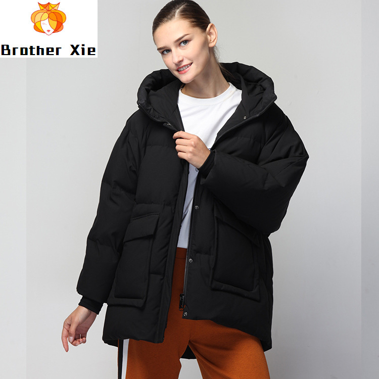 In the new winter loose fashion women's clothing hooded long-sleeved long white duck down women's down jacket
