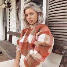 KIYUMI Sweatshirt Women Loose Pullover 2019 Winter Casual Long Lantern Sleeves Lambswool Plaid Sweatshirts Thick Free Sweatshirt light grey black pullover lantern sleeves sweatshirt