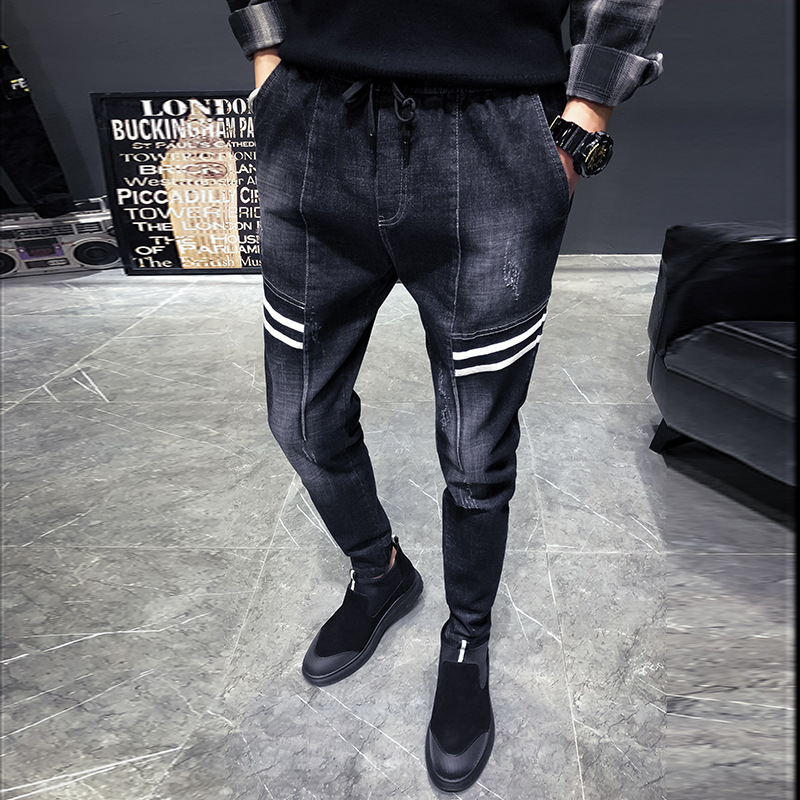 2019 Spring And Autumn Men'S Wear New Style Jeans Men Trend Slim Fit Skinny Pants Youth Students Harem Cowboy Pants