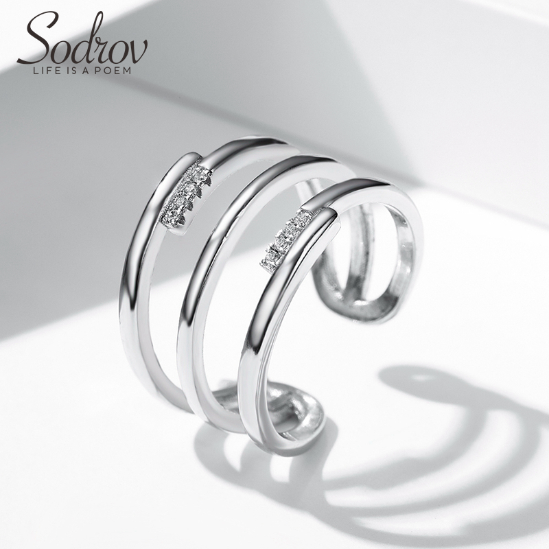 SODROV Silver 925 Jewelry Silver Rings For Women 925 Sterling Silver Trendy Zircon Finger Ring Size Adjustable Silver Rings