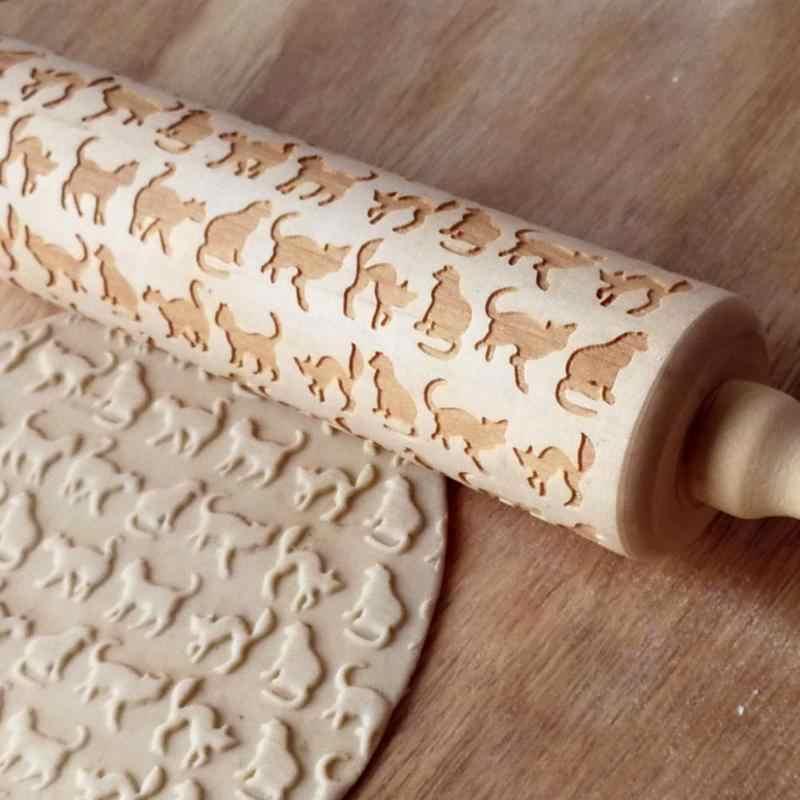 Mattarello goffrato in legno animale carino per biscotti da forno fai-da-te biscotto di pasta biscotto torta fondente rullo inciso Dropship pin g