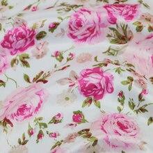 Meter Tilda Pink Floral Dress Fabric Soft Satin Material Elegant Sleepwear Scarf Material Tecido