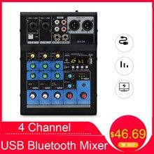 Mezclador de 4 canales con tarjeta de sonido bluetooth profesional, mezclador pequeño USB para el hogar, Karaoke, DJ, eauippment
