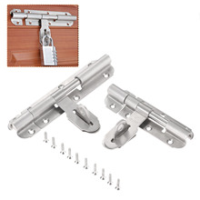 Stainless Steel Door Slide Lock Catch Security Latch Sliding Lock Home Gate Safety Hardware Door Bolts Optional 4inch 6inch  - buy with discount