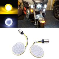 2 inches Bullet Diode Front LED 1157 Turn Signal Lights Panel Inserts White/Amber For Harley Davidson Touring Dyna Softail