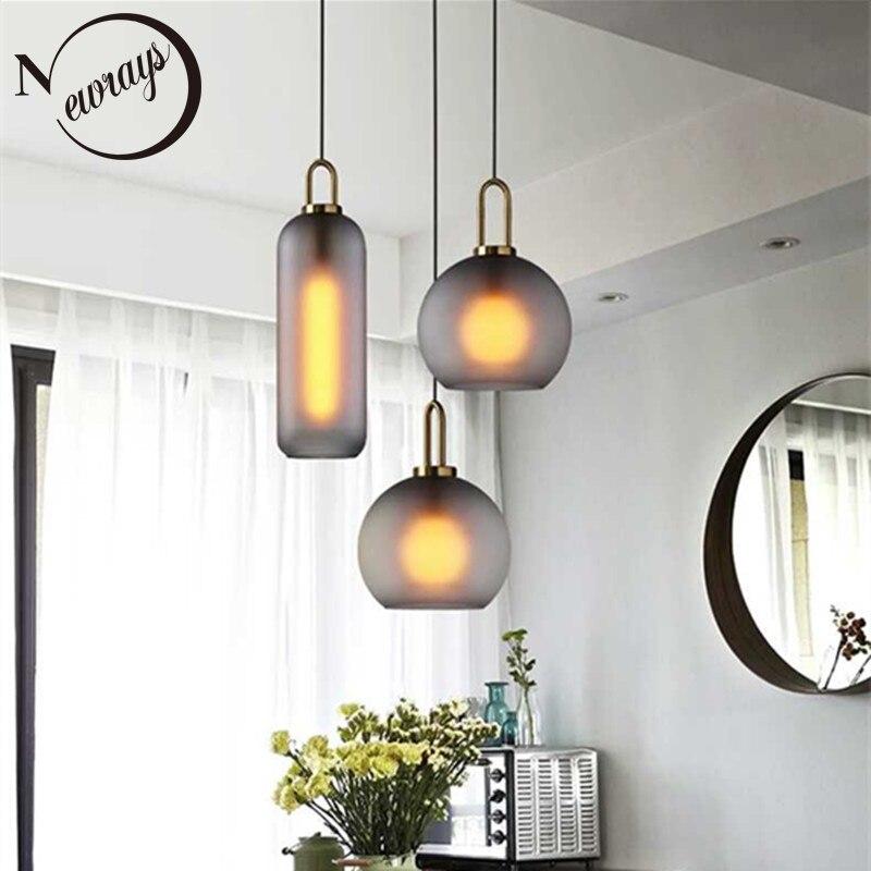 Nordic Modern Simple Glass Ball LED E27 Pendant Lights Interior Lighting Lamps Restaurant Bedroom Stair Decoration Hanging Light