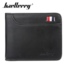 Baellerry 2019 New Wallet Men Fashion Solid Short PU Leather Clip Porta Handbag Note Compartment Card Holder