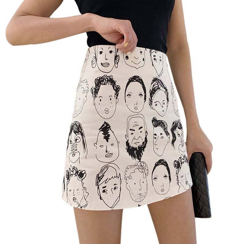 Korean Style Skirts Retro Comic Print High Waist Wild A Line Skirt Fashion Women Bag Hip Mini Skirt